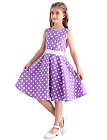 Girl's Purple White Polka Dot Vintage Inspired Sleeveless 50s Rockabilly Swing Dress Cotton All Seasons