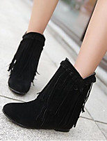 Feminino Sapatos Couro Ecológico Pele Nobuck Outono Inverno Conforto Botas Para Casual Preto Bege Marron