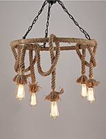 Vintage Industrial Hemp Rope Pendant Lamp with 6-Lights Chandelier Living Room Dining Room Light Fixture