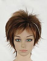 Perruques naturelles Synthétique Sans bonnet Perruques Court Marron Cheveux