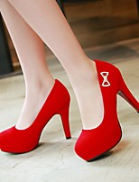 Women's Shoes PU Spring Comfort Heels Stiletto Heel Round Toe With For Casual Black Red Royal Blue