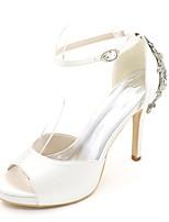 Для женщин Свадебная обувь Туфли лодочки Весна Лето Сатин Свадьба Для вечеринки / ужина Стразы На шпильке Лиловый Красный Синий