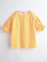 Girls' Stripes Blouse,Cotton Summer Short Sleeve