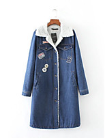 Feminino Jaqueta jeans Esportes Casual Para Noite Simples Moda de Rua Outono Inverno,Sólido Estampado Longo Outros Colarinho de Camisa