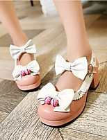 Women's Shoes PU Spring Comfort Heels For Casual Black Blushing Pink