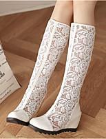 Для женщин Обувь Тюль Весна Осень Удобная обувь Ботинки Назначение Повседневные Белый Бежевый