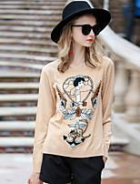 Для женщин На выход На каждый день Простое Обычный Пуловер Однотонный,Круглый вырез Длинный рукав Шерсть Полиэстер Другое Осень Зима