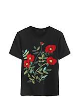 Damen Blumen Stickerei Sexy Einfach Street Schick Ausgehen Lässig/Alltäglich T-shirt,Rundhalsausschnitt Sommer Kurzarm Baumwolle Polyester