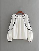 Women's Going out Casual/Daily Work Vintage Simple Sophisticated Shirt,Embroidery Round Neck Long Sleeve Cotton