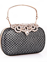 Women Clutch leatherette All Seasons Wedding Event/Party Formal Minaudiere Rhinestone Lace Snap Silver Gold
