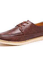 Men's Flats Moccasin PU Spring Fall Casual Outdoor Walking Moccasin Flat Heel Ruby Brown Silver Black Flat