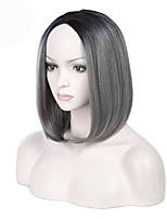 Pelucas sintéticas Sin Tapa Medio Liso Gris oscuro Peluca afroamericana Para mujeres de color Corte Bob Peluca natural Las pelucas del
