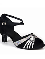 Women's Latin Sparkling Glitter Paillette Velvet Sandals Heels Indoor Buckle Sparkling Glitter Paillettes Color Block Cuban HeelBlack/Red