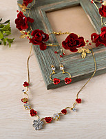 Women's Necklace Front Back Earrings Rhinestone Vintage Rhinestone Alloy Square For Wedding Wedding Gifts
