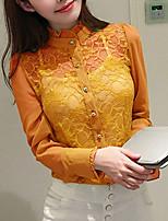 Mujer Simple Noche Casual/Diario Verano Otoño Camisa,Escote Chino Un Color Manga Larga Poliéster Medio