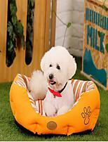 Собака Кровати Животные Коврики и подушки В полоску Footprint / Paw Теплый Мягкий Влажная чистка Оранжевый Зеленый