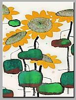 Ручная роспись Цветочные мотивы/ботанический Вертикальная,Художественный Абстракция Природа Деревня Модерн Офисный Рождество Новый год 1