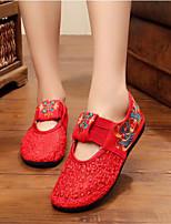 Femme Chaussures de mariage Confort Tissu Eté Décontracté Rouge Plat