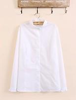 Damen Solide Sexy Einfach Street Schick Ausgehen Lässig/Alltäglich T-shirt,Hemdkragen Sommer Langarm Baumwolle PolyesterDünn