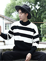 Men's Casual/Daily Simple Short Pullover,Striped Crew Neck Long Sleeves Wool Others Spring Fall Thin Micro-elastic