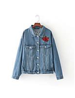 Feminino Jaqueta jeans Para Noite Casual Activo Moda de Rua Primavera Outono,Sólido Estampado Padrão Algodão Poliéster OutrosColarinho de