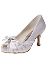 Women's Wedding Shoes Basic Pump Stretch Satin Summer Wedding Party & Evening Bowknot Stiletto Heel Ivory 3in-3 3/4in