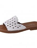 Для женщин Тапочки и Шлепанцы Удобная обувь Полиуретан Лето Повседневные На плоской подошве Белый Бежевый 4,5 - 7 см