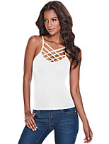Women's Holiday Going out Club Sexy Summer Tank Top,Solid U Neck Sleeveless Polyester Spandex