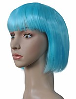 Bob style capless perruque court ciel bleu kinky straight synthétique cheveux cosplay perruque