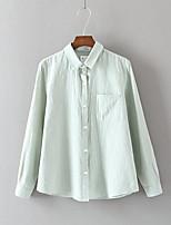Feminino Camisa Social Para Noite Casual Simples Fofo Moda de Rua Verão Outono,Sólido Floral Outros Colarinho de Camisa Manga LongaFina