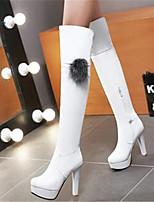 Feminino Sapatos Couro Ecológico Primavera Conforto Botas Para Casual Branco Preto