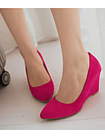 Women's Shoes PU Spring Comfort Heels For Casual Black Beige Red Green