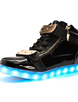 Women's Sneakers Light Up Shoes Light Soles Fall Winter TPU Casual Outdoor Party & Evening LED Low Heel Black White Under 1in