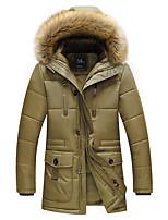 Пальто Простое Длинная На подкладке Для мужчин,Однотонный Большие размеры Полиэстер Хлопок,Длинный рукав