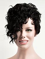 Perruques naturelles Synthétique Sans bonnet Perruques Court Noir de jais Cheveux