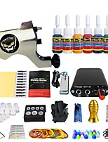 Solong Tattoo New Beginner 1 Pro Tattoo Machine Kit Power Supply Needle Grips tip 7 color ink set TK105-38
