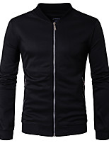 Men's Casual/Daily Sweatshirt Solid Stand Micro-elastic Others Long Sleeve Spring Fall