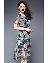 1898 Women's Going out Cute Swing DressPrint Round Neck Midi Short Sleeve Polyester Summer Mid Rise Micro-elastic Medium