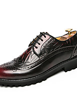 Men's Oxfords Formal Shoes Fall Winter Leather Walking Shoes Wedding Casual Office & Career Party & Evening Lace-up Flat Heel Red Yellow