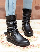 Women's Shoes PU Fall Winter Comfort Boots Flat Heel Round Toe Mid-Calf Boots For Casual White Black