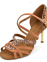 Damen Latin Glitzer Seide Sandalen Aufführung Farbaufsatz Stöckelabsatz Schwarz Purpur Braun 7,5 - 9,5 cm Maßfertigung