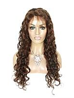 жен. Парики из натуральных волос на кружевной основе Натуральные волосы Лента спереди 130% плотность Естественные кудри Парик Mediumt
