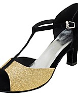 Women's Latin Flocking Glitter Sandals Heels Professional Buckle Paillettes Customized Heel Gold Silver 1