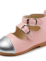 Girls' Flats First Walkers Spring Leatherette Walking Shoes Casual Magic Tape Low Heel Blushing Pink White Flat