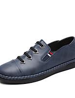 Для мужчин Мокасины и Свитер Удобная обувь Весна Осень Кожа Повседневные На плоской подошве Черный Коричневый Синий На плоской подошве