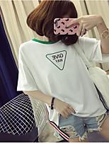 Damen Geometrisch Buchstabe Einfach Lässig/Alltäglich T-shirt,Rundhalsausschnitt Sommer Kurzarm Baumwolle