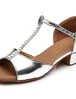 Women's Latin Faux Leather Full Sole Practice Low Heel Silver Gold Under 1