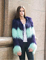 Women's Casual/Daily Simple Winter Fur Coat,Color Block Round Neck Long Sleeve Regular Raccoon Fur