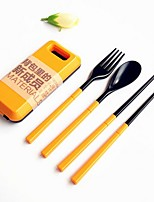 2 PCS/Set Abs Plastic Tableware Set Folk Spoon Chopsticks