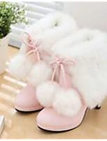 Для женщин Обувь Полиуретан Зима Удобная обувь Ботинки Назначение Повседневные Розовый